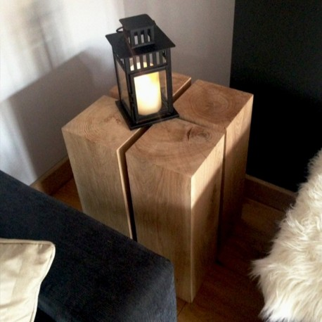 Oak Pedestal Side Table / Lamp Stand