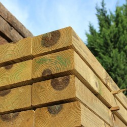 Pallet of Planed and Bevelled Treated Softwood Sleepers 194mm x 94mm - FREE EXPRESS DELIVERY