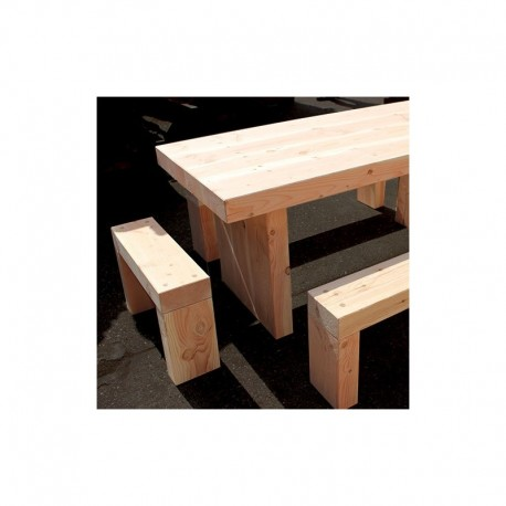 Douglas Fir Refectory Table And Seating Furniture Set