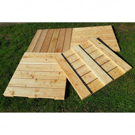 Pack of 4 Green Treated Swedish Redwood Pine Decking Tiles