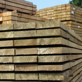 Pallet of New Green Treated Softwood Sleepers 200mm x 50mm - FREE EXPRESS DELIVERY