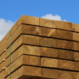 Pallet of New Green Treated Softwood Sleepers 250mm x 125mm - FREE EXPRESS DELIVERY