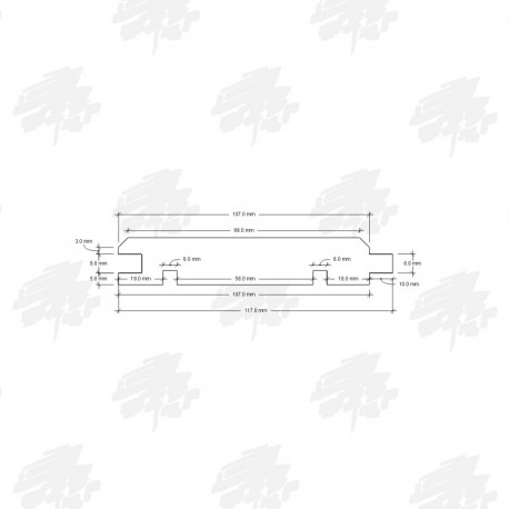 117mm Siberian Cedar Tongue and Groove Cladding - Technical Drawing
