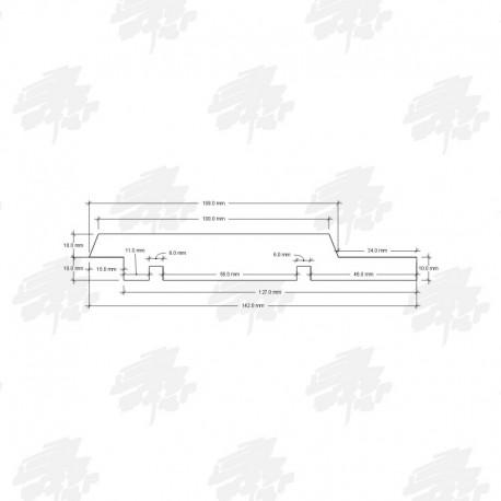 Siberian Cedar Channel Siding Cladding - Technical Drawing