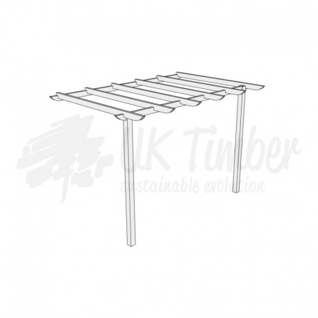 3600mm x 2400mm Green Treated Softwood Pergola Kit - Wall Mounted