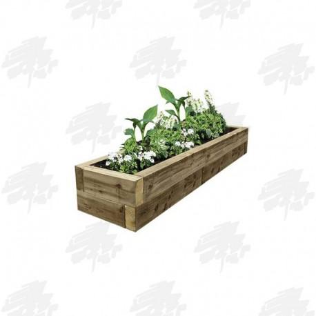 2525x725x500mm Green Treated Softwood Sleeper Raised Bed Kit - Rectangular