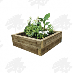 Green Eco Treated Softwood Sleeper Raised Bed Kit - Square
