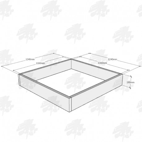 Planed Oak FlowerBed Kit - Square - 1240x1240x190mm - FREE EXPRESS DELIVERY