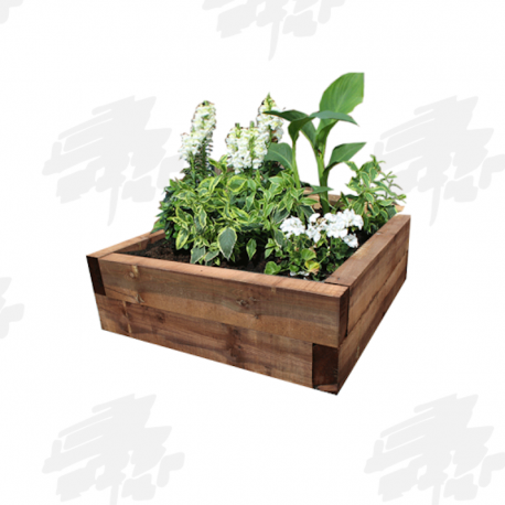 Brown Eco Treated Softwood Sleeper Raised Bed Kit - Square