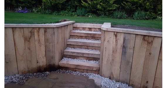 Landscaping with New Untreated Oak Sleepers
